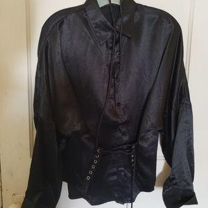 black satin corset dress shirt